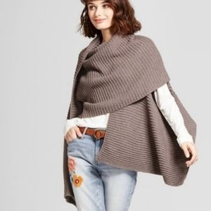 Gray Asymmetrical Sweater Scarf Vest Shawl Wrap